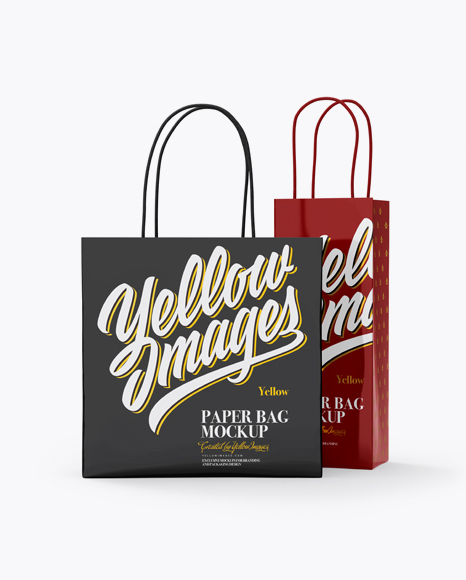 Download Two Glossy Paper Bags Mockup - Half Side View Object Mockups