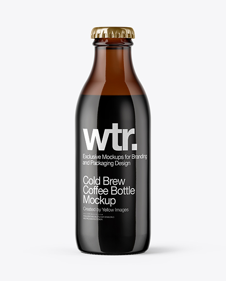 Download 180ml Amber Glass Bottle With Cold Brew Coffee Mockup Object Mockups