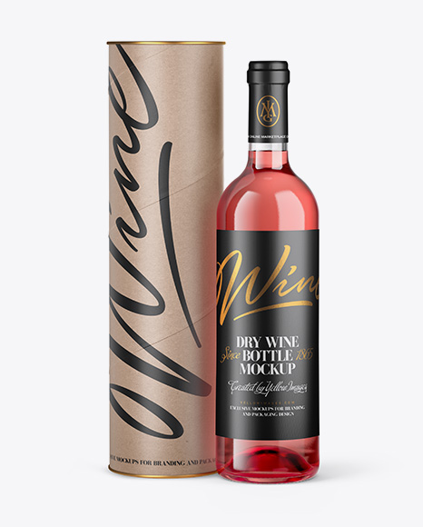 Clear Glass Pink Wine Bottle and Tube Mockup