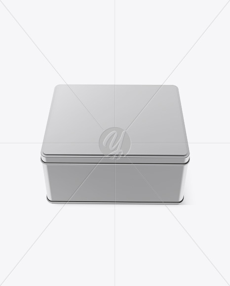 Matte Metallic Square Tin Box Mockup (High-Angle Shot)
