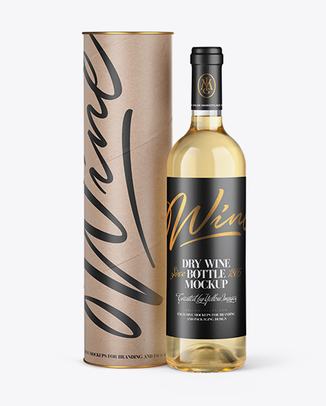 Clear Glass White Wine Bottle and Tube Mockup