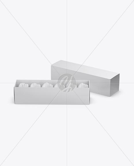 Opened Paper Box With Macarons Mockup - High-Angle Shot