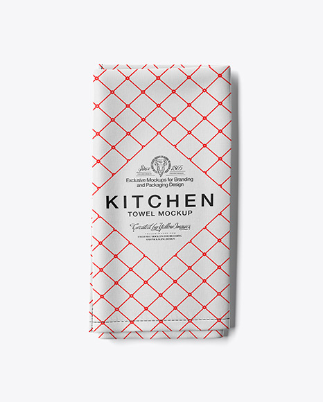 Folded Kitchen Towel Mockup - Top View
