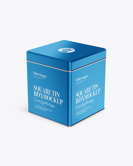Download Metallic Square Tin Box Mockup - Half Side View (High-Angle Shot) Object Mockups