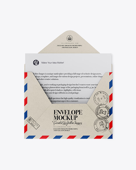 Opened Kraft Envelope Mockup