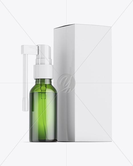 Green Spray Bottle W/ Glossy Paper Box Mockup