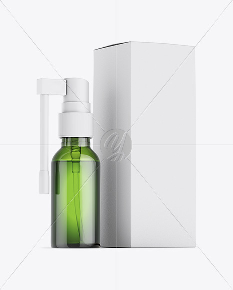 Green Spray Bottle W/ Matte Paper Box Mockup