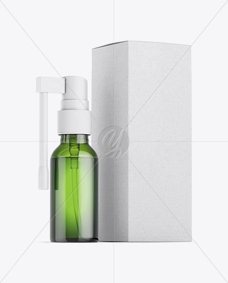 Green Spray Bottle W/ Kraft Box Mockup
