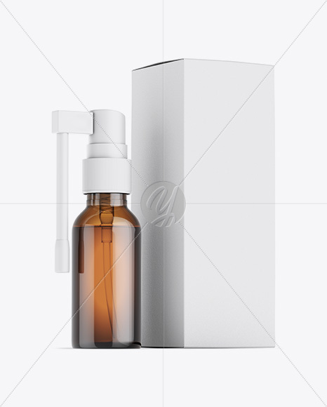 Amber Spray Bottle W/ Matte Paper Box Mockup