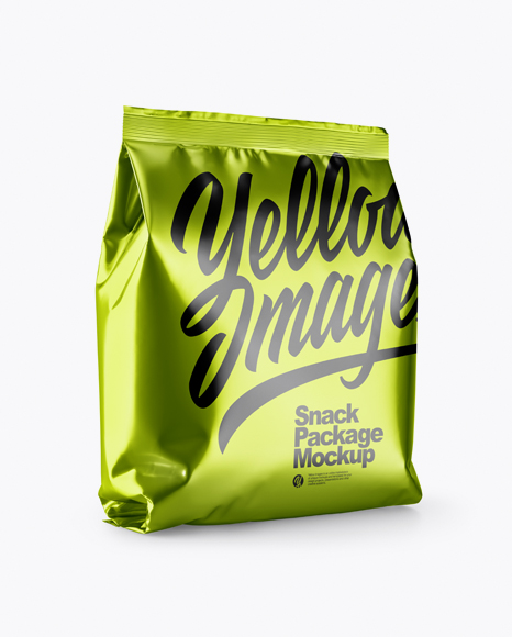 Metallic Snack Package Mockup - Half Side View
