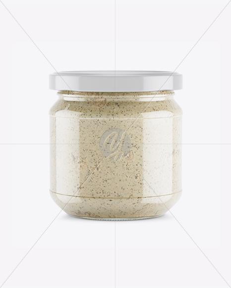 Glass Jar With Räuber Spread Mockup