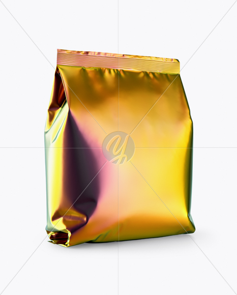 Holographic Snack Package Mockup Half Side View In Bag Sack Mockups On Yellow Images Object Mockups