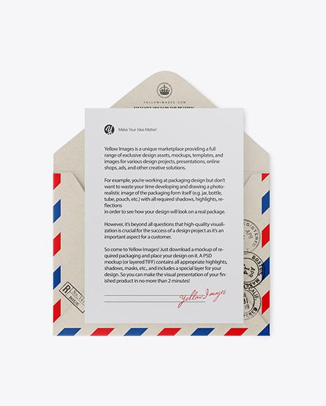 Opened Kraft Envelope Mockup