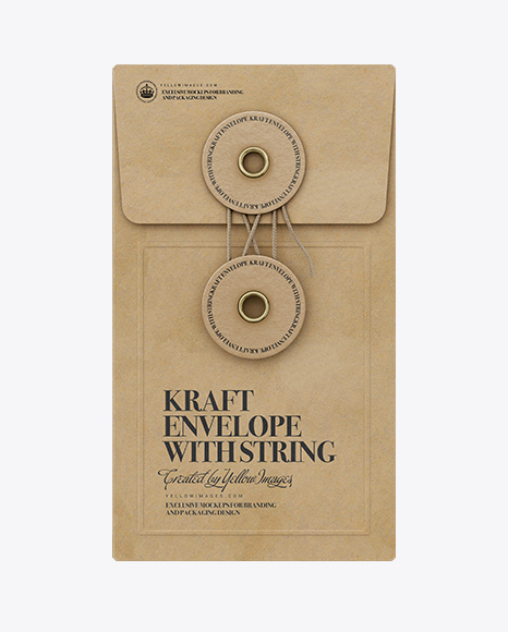 Kraft Envelope With String Mockup - Front View