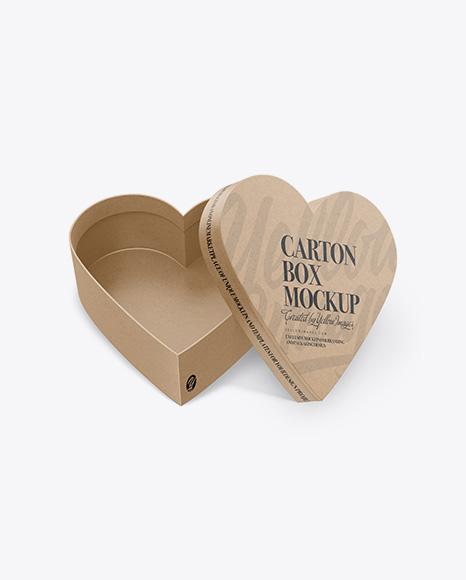 Opened Heart Shaped Kraft Box Mockup - High-Angle Shot