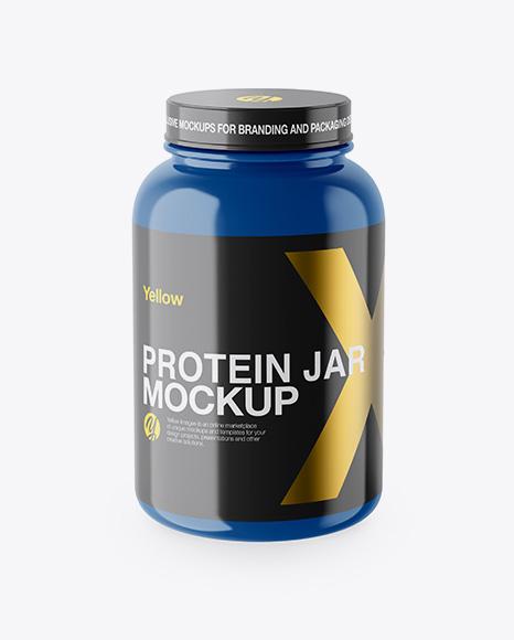 Glossy Protein Jar Mockup - High-Angle Shot