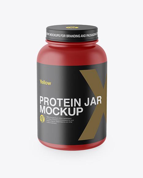 Matte Protein Jar Mockup High Angle Shot In Jar Mockups On