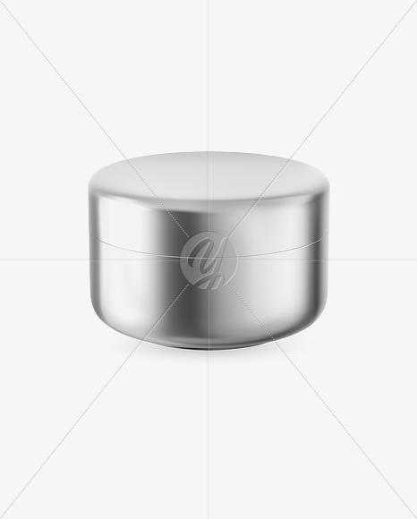 Metallic Cosmetic Jar Mockup - Front View (High-Angle Shot)