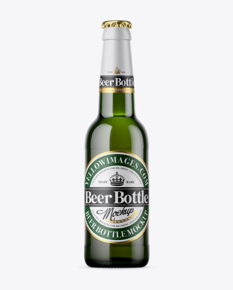 Download Free 330ml Green Bottle With Beer Mockup PSD Template