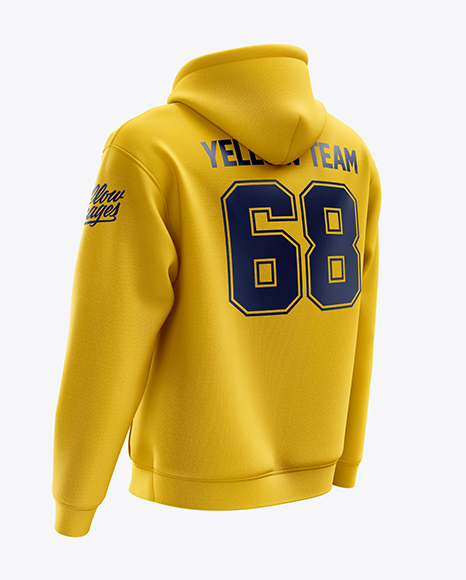 Download Men S Heavyweight Hoodie Mockup Back Half Side View In Apparel Mockups On Yellow Images Object Mockups