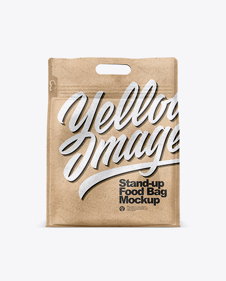 Download Download Kraft Paper Stand-up Food Bag Mockup Object ...