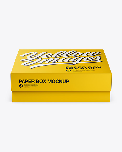 Download Free Square Paper Box Mockup - Front View (High Angle Shot) PSD Template