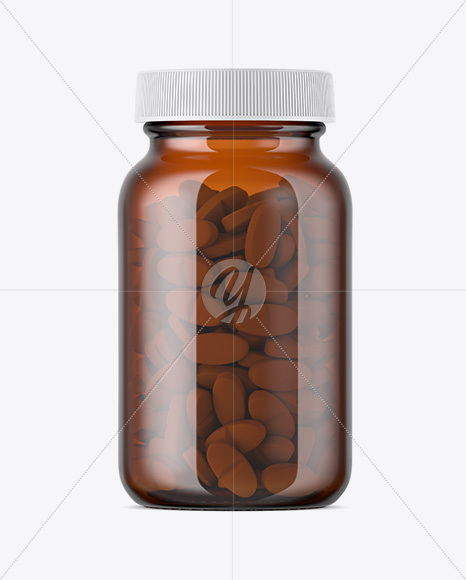 Download Amber Glass Bottle With Pills Mockup In Bottle Mockups On Yellow Images Object Mockups PSD Mockup Templates