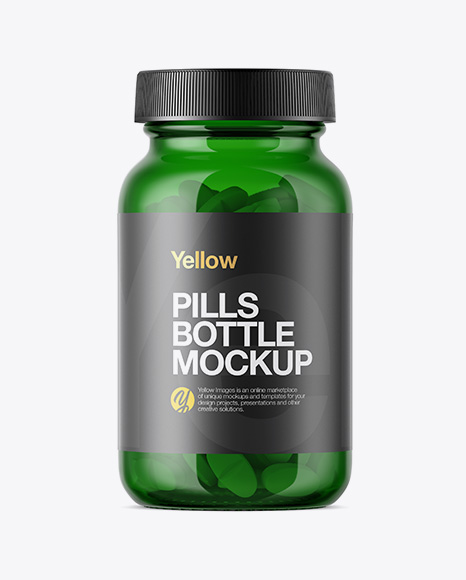 Download Green Glass Bottle With Pills Mockup Object Mockups