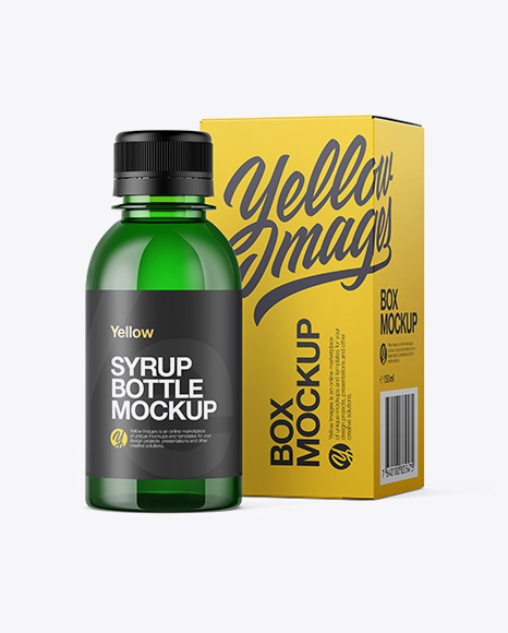 Green Plastic Bottle W Paper Box Mockup In Bottle Mockups On