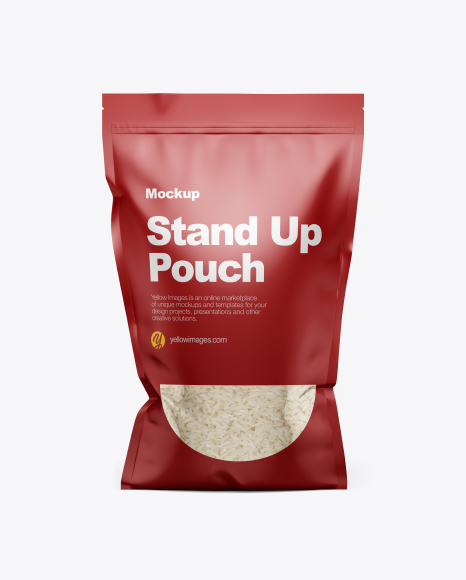 Stand Up Pouch With Rice Mockup Front View Pouch Mockups Psd