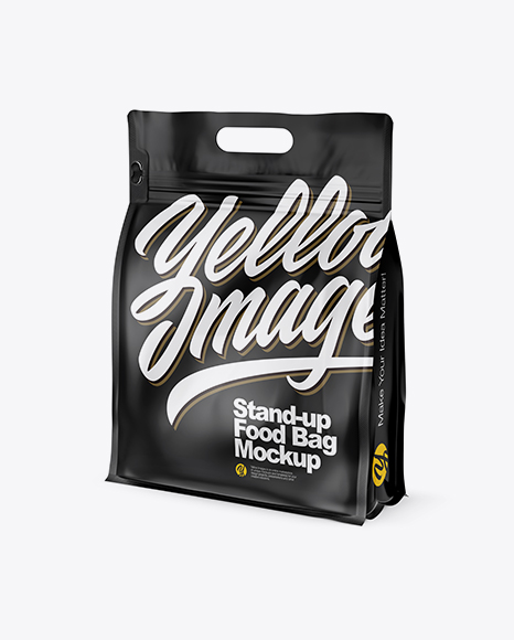Download Free Matte Stand-up Food Bag Mockup - Half Side View PSD Template