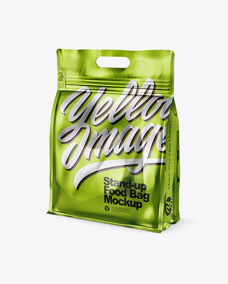 Download Free Metallic Stand-up Food Bag Mockup - Half Side View PSD Template