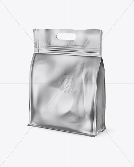 Matte Metallic Stand-up Food Bag Mockup - Half Side View