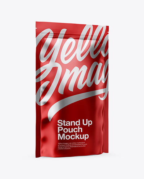 Download Metallic Stand-Up Pouch Mockup - Half Side View Object Mockups