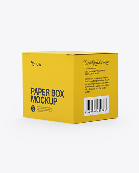 Download Paper Box Mockup Half Side View In Box Mockups On Yellow Images Object Mockups PSD Mockup Templates