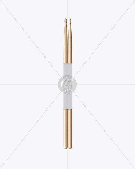 Wooden Drumsticks in Paper Holder Mockup