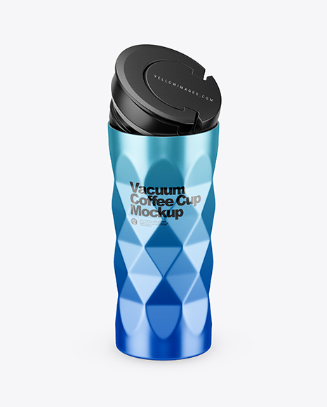 Download 420ml Opened Matte Stainless Steel Vacuum Coffee Cup Mockup (High-Angle Shot) Object Mockups
