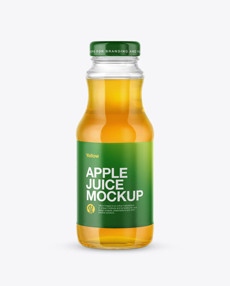 Download Clear Glass Bottle with Apple Juice Mockup Object Mockups