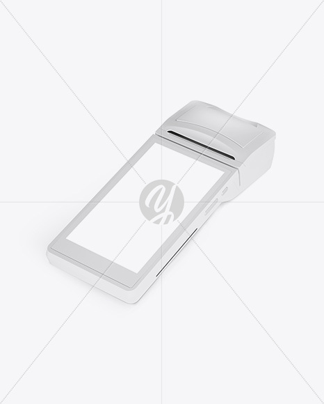 Mobile Payment Terminal Mockup - Half Side View