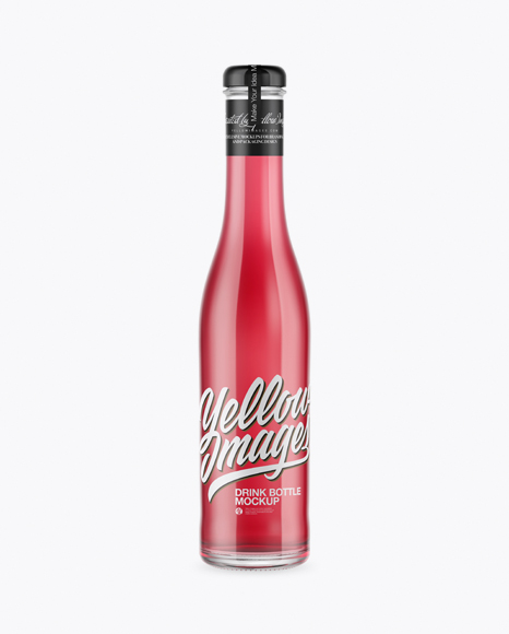 Download Clear Glass Bottle With Pink Drink Mockup Object Mockups
