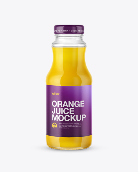 Download Clear Glass Bottle with Orange Juice Mockup Object Mockups