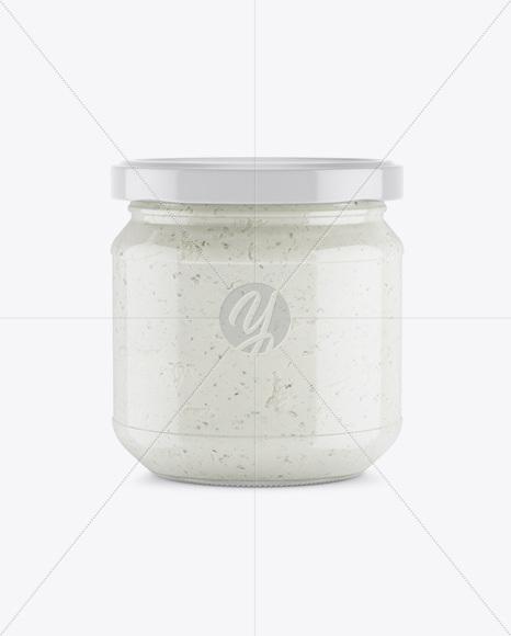 Glass Jar With Ramson Spread Mockup
