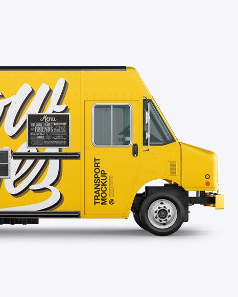 Food Truck Mockup - Half Side View