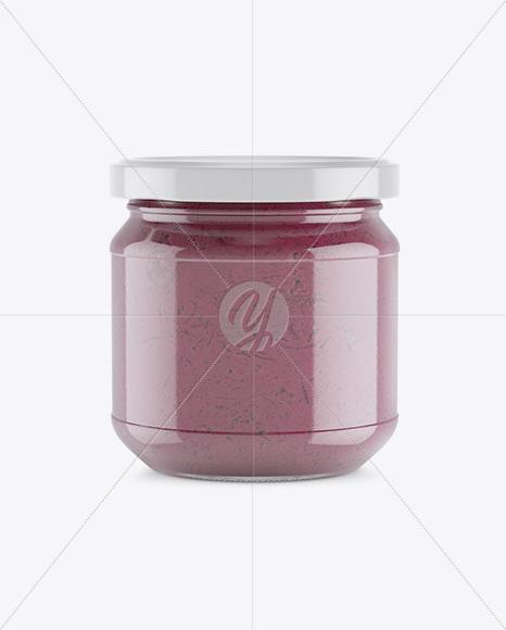 Glass Jar With Beet Sauce Mockup