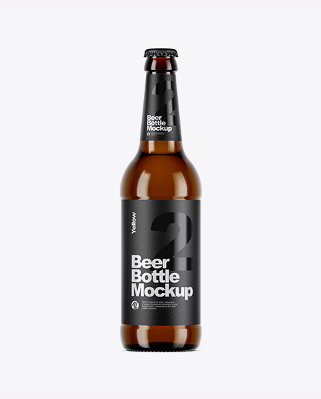 Download Free Amber Glass Bottle With Lager Beer Mockup PSD Template