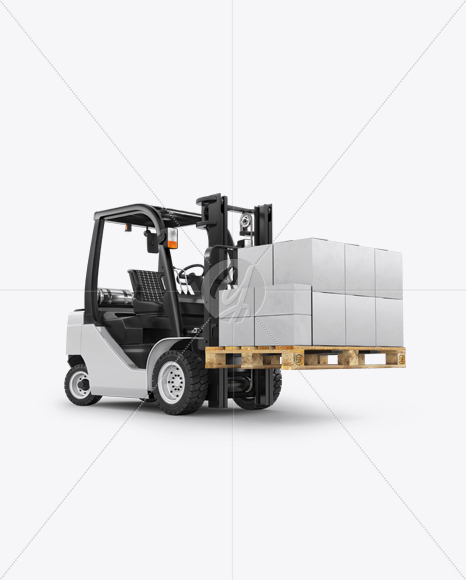 Forklift Mockup - Right Half Side View