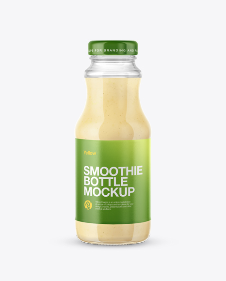 Clear Glass Bottle with Banana Smoothie Mockup