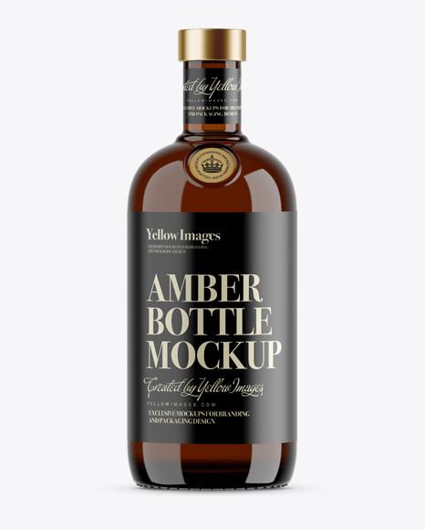 Download 700ml Amber Glass Bottle Mockup Object Mockups