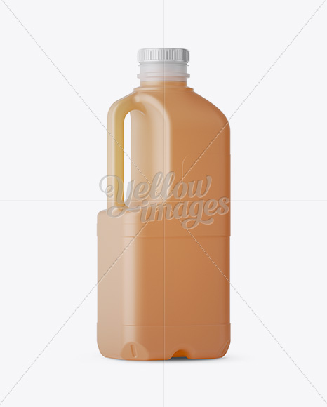 Frosted Plastic Juice Jug Mockup - Halfside Back View