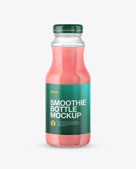 Clear Glass Bottle with Strawberry Smoothie Mockup